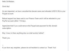 【后续】Exabytes域名到期后paypal自动扣款续费,要求退钱